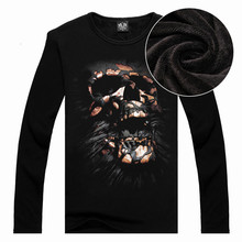 Funny Cool Long Sleeved Men's T-shirts Cotton 3D Skull Print Thicken Cashmere Tops Tees
