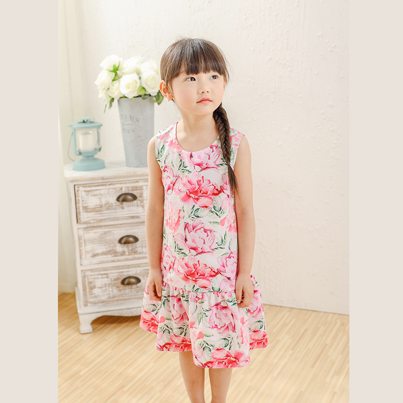 Girl Dress Colorful Floral Sundress Party Pageant Birthday Cute Kids Clothing(China (Mainland))