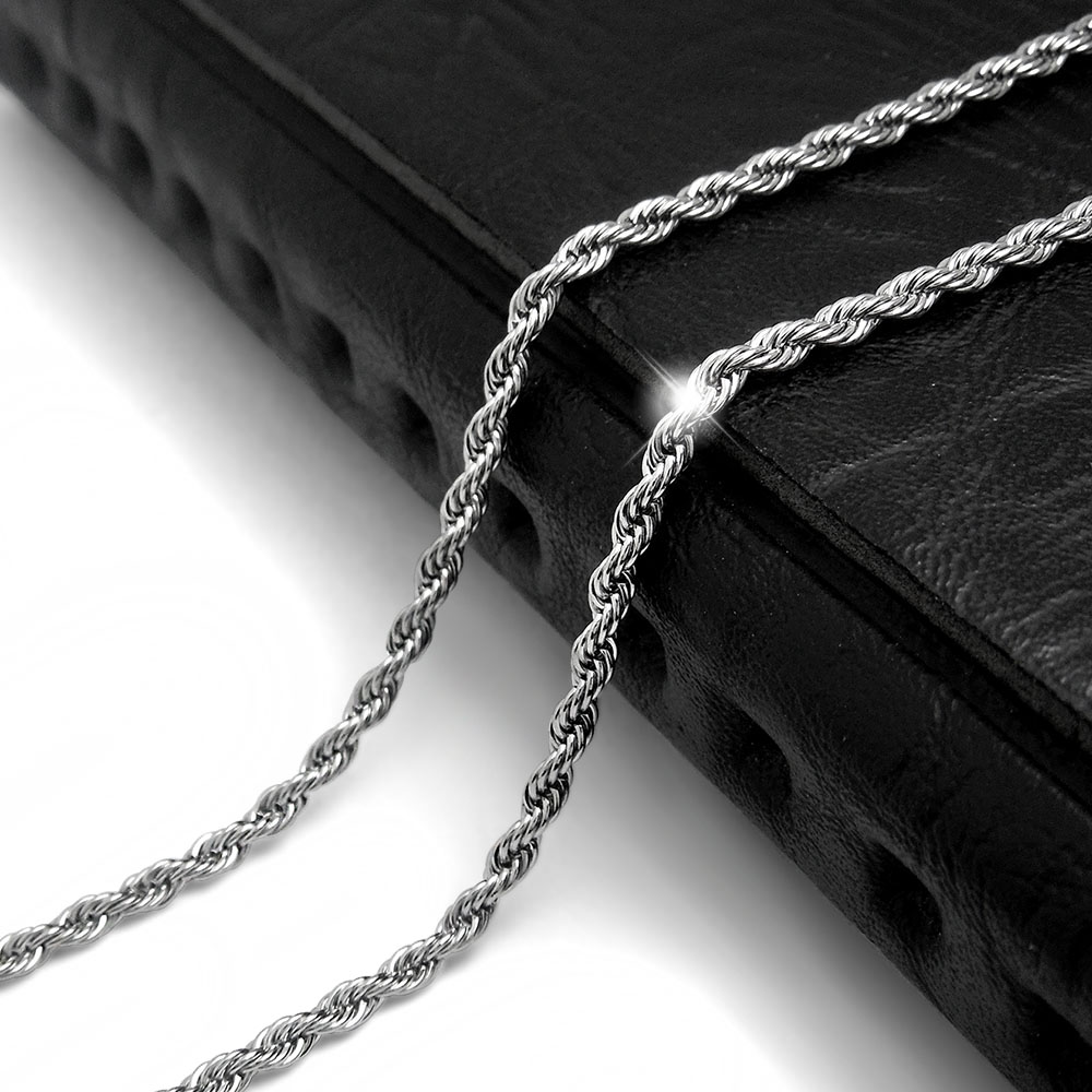 2016 New Fashion Necklace MenJewelry Titanium Steel Silver Plated 2.4MM twist rope chain Necklace for Men Gifts for Boyfriend(China (Mainland))