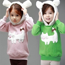 Children Hoodies New Baby Cartoon Cat Fleece Outerwear Autumn Girl fashion hooded Sweater Winter Coat roupa infantil QY-731(China (Mainland))