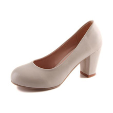 Plus Size 30 43 Women Career High Heels Shoes PU Leather Thick Heel Women Pumps Suede