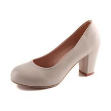 Plus Size 30-43 Women Career High Heels Shoes PU Leather Thick Heel Women Pumps Suede Ladies Office Work Heels Female Footwear
