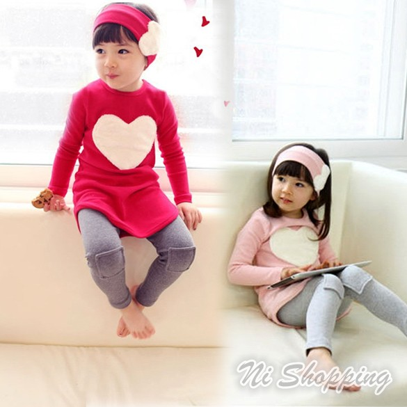 New Cute kids clothes Girls Love Hair Hoop Long Sleeve Three-piece Dress 2 Colors 5 Sizes 16832 (China (Mainland))(China (Mainland))