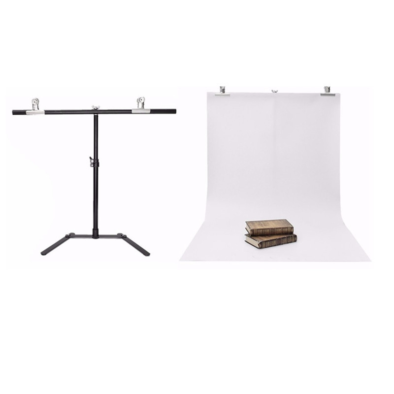 Adjustable Photography Support Stand + White PVC Backdrop Background + 2 Clips Set High-strength aluminum detachable(China (Mainland))