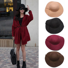 Free Shipping 2015 New Stylish Vintage Women's Lady with Wide Brim Wool Bowler Fedora Hat Floppy Cloche Sun Beach Bowknot Cap