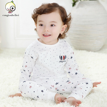 2016 Spring 100% Cotton Baby Boys Girls Long Sleeve Polka Dot style Pajamas For Kids with 9 Colors to Choose(China (Mainland))