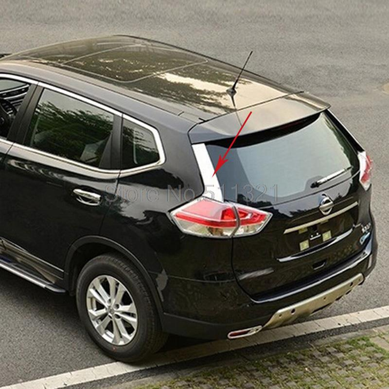 accessories fit for 2014 2015 nissan rogue x trail stainless rear window spoiler side cover trim. Black Bedroom Furniture Sets. Home Design Ideas
