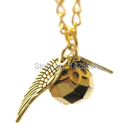 Freeshipping Golden Snitch Harry Potter The Deathly Hallows Wing Charm Pendant Chain Necklace Movie Jewelry