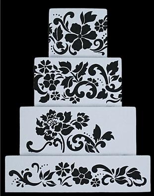 Flower Plantilla Stencil Bakeware 4PCS/SET Baking Fondant Cake Decorating Tools for Cupcake Template Mold Spiral Decoration(China (Mainland))