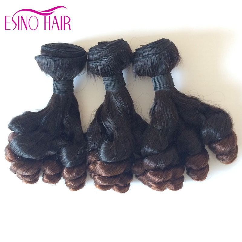 Nigeria Aunty Funmi Hair Unprocessed Human Hair Extension ombre Brazilian Virgin Spiral Curls Bouncy Curly Spring Curls Weave(China (Mainland))