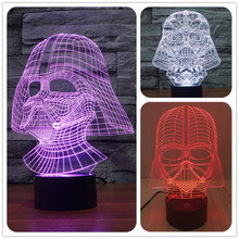Creative Star Wars Darth Vader 3D Night Light Acrylic Colorful Gradient LED Desk Table Light Lamp black warrior(China (Mainland))