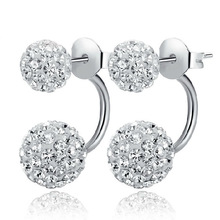 Beautiful 925 sterling silver jewelry earrings. Shambhala double ball design rhinestone crystal stud earrings for women jewelry(China (Mainland))