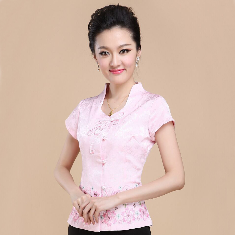 Pink Embroidery Floral Women Cotton Blouse Vintage Handmade Button Summer Shirt Blusas Femininas Size S M L XL XXL XXXL NS049(China (Mainland))