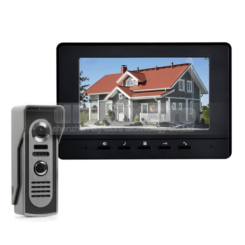 Фотография 600TV Line 7inch Video Intercom Video Door Phone IR Night Vision Outdoor Camera Black 1v1