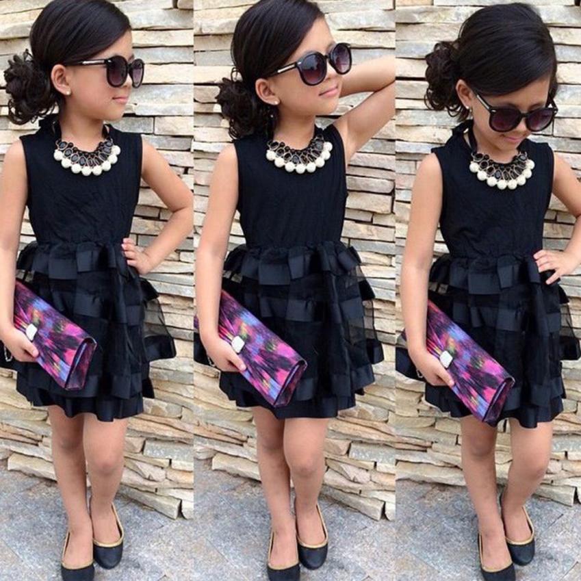 2-7 Years Hot Selling Baby Girls Black Dress Toddler Kids Baby Girls Princess Party Pageant Wedding Tulle Tutu Flower Dresses(China (Mainland))