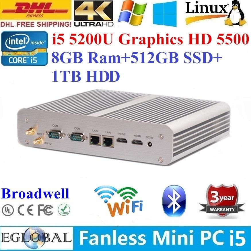 Newest Technology Mini PC Fanless PC 0.00dB 8GB Ram 512GB SSD 1TB HDD Intel Core i5 5200U 2*Nics+2*COM+2*HDMI 4K HD HTPC Alloy(China (Mainland))