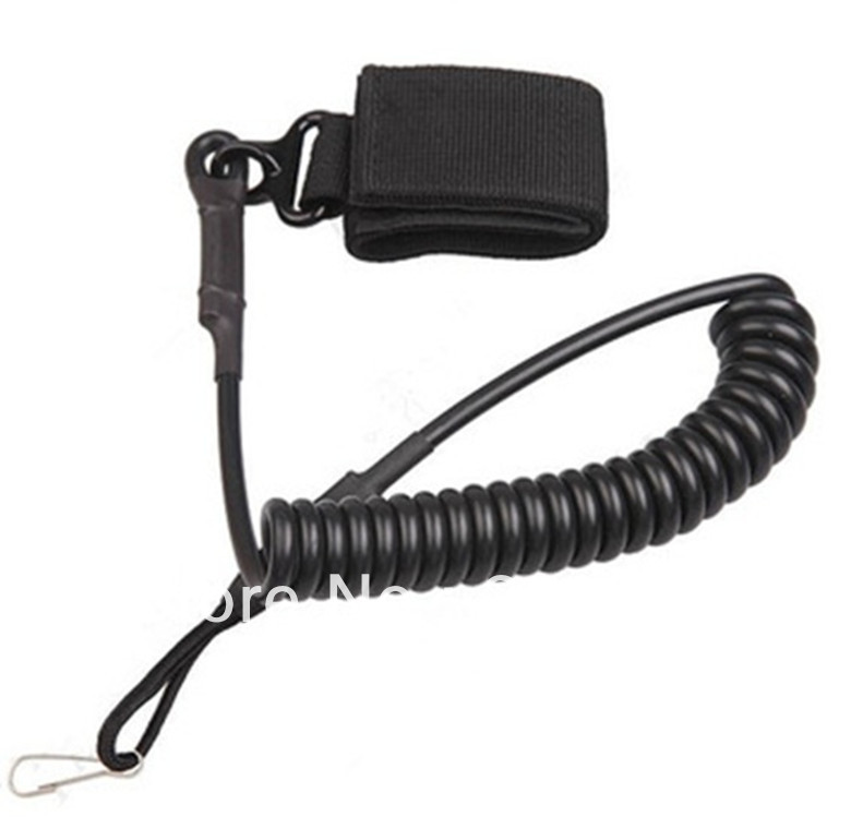 Adjustable Tactical Pistol Hand Gun Secure Spring Lanyard Sling Belt Velcro Outdoor Combat Gear - Outdoor's Equipment store