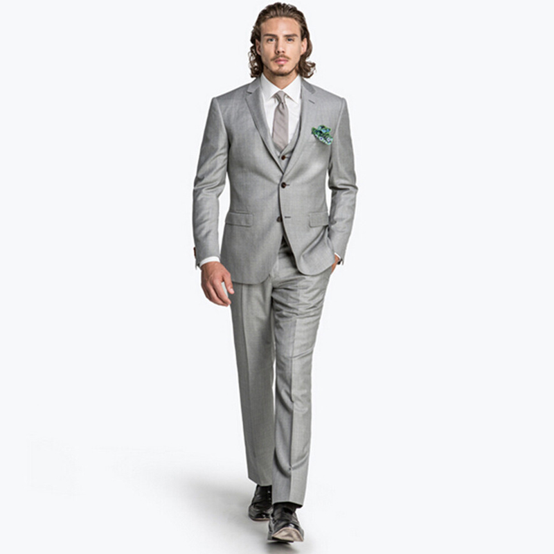 2016 New Custom Made Fashion Silver Men's Wedding Suits Tuxedos Bridegroom Suits Groomsman Suit Formal Suits