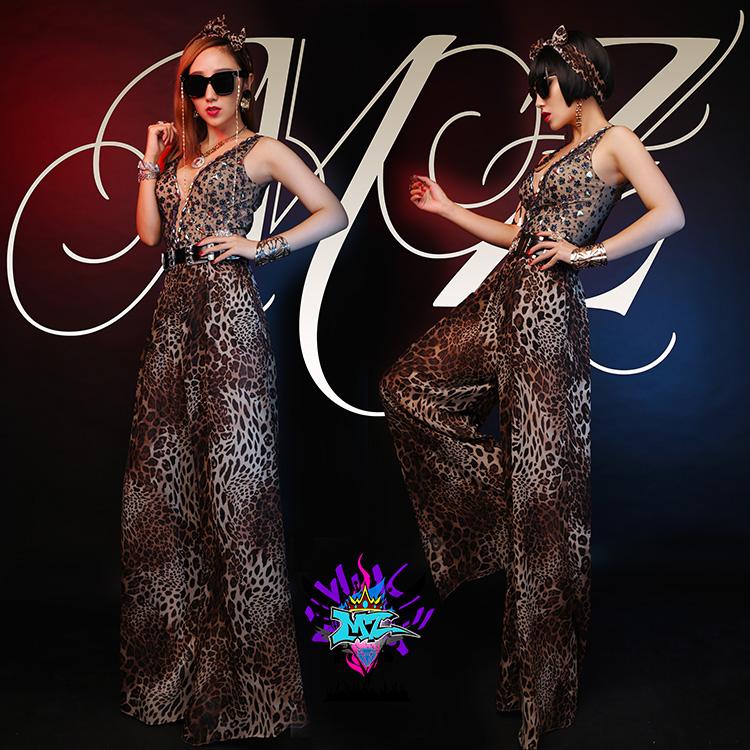 Fashion design female singer DJ rhienstone Leopard bodysuit costume nightclub prom jumpsuit clothing bodysuit women outfitОдежда и ак�е��уары<br><br><br>Aliexpress