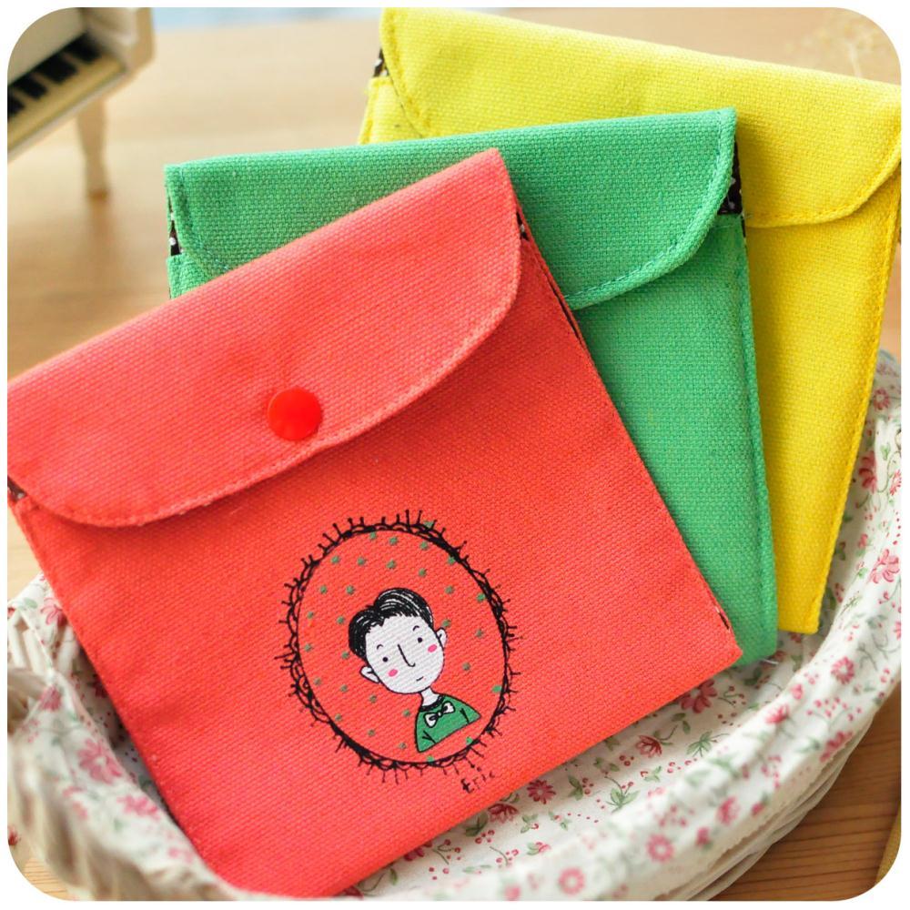 FBH140407 fresh retro childhood signature cotton storage bag Korea cute purse fashion creative wallets free shipping(China (Mainland))