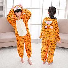 Caçoa os Animais Estrelas Unicórnio Pijama Para Meninos Meninas Crianças Dos Desenhos Animados Pijamas de Flanela Com Capuz Bonito Pijamas Onesies para 4 6 8 10 12(China)