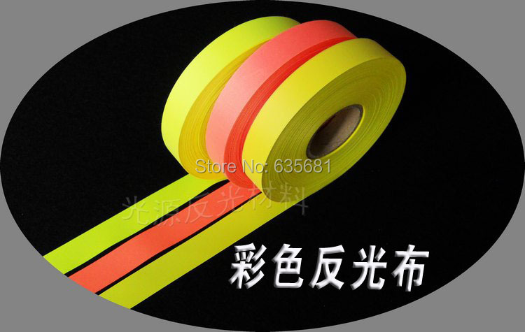 Free Shipping 2cm width Reflective Tape 100m Colorful Cloth Clothes Reflective Fluorescent Yellow Red Chemical Fiber(China (Mainland))