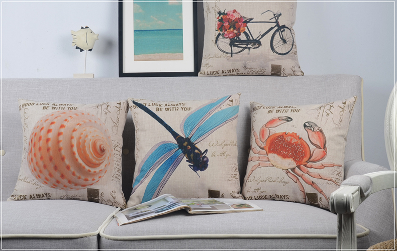 Elegant pastoral dragonfly crab conch bike bicycle flower pattern Cushion Cover home cafe decor throw pillow Case - Joy's Little Shop store