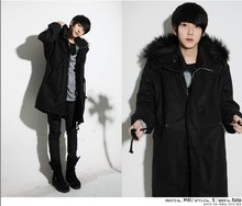 In the long winter XL male hooded Korean wool coat with warm cashmere coat Y961 male P95(China (Mainland))