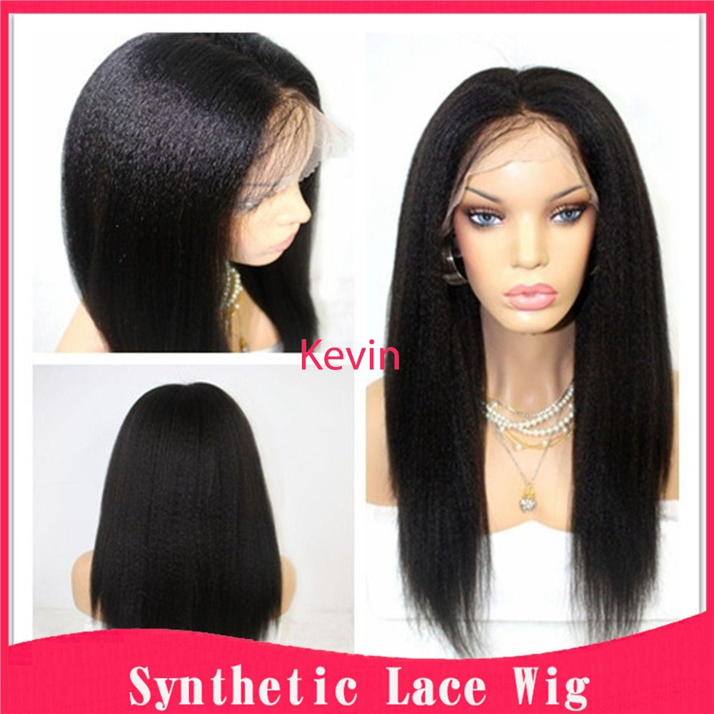 Glueless Yaki synthetic lace front wigs italian yaki kinky ...