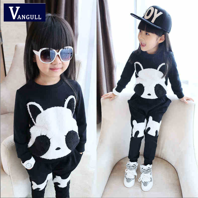 2016 new foreign trade clothing wholesale authentic Korean cotton suit suit for children Panda 2 piece tradechildrenset(China (Mainland))