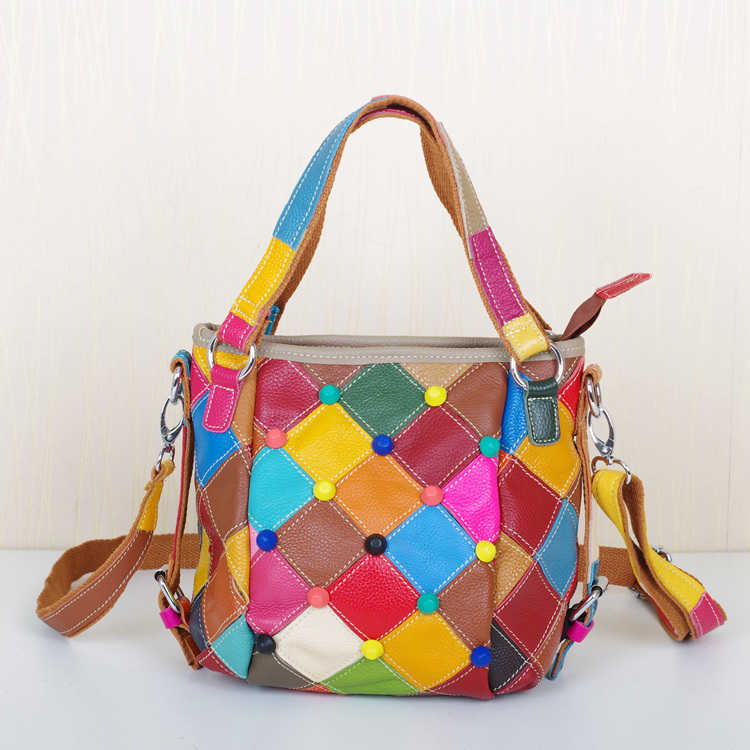 2015 new fashion hit color sweet multi-colored cowhide woman handbags, casual stitching small square bag Crossbody 3 colors