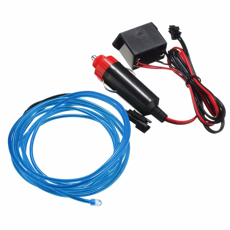 Hot Sale 10 Colors 2M 12V Led Flexible EL Wire Neon Glow Light Car Party Wedding Decoration(China (Mainland))