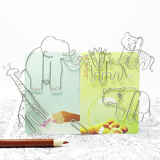 Animal Paper Clips 5*2set Elephant Lion Tiger Giraffe Rhinoceros stationery handmade creative functional stainless steel craft(China (Mainland))