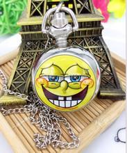 Animation cartoon Spongebob squarepants necklace quartz pocket watch children pendant best gift good qulilty(China (Mainland))