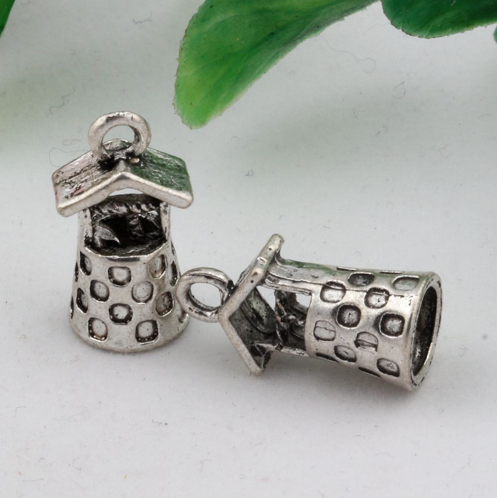 Hot ! 15pcs Antique Silver Alloy Wishing Well Water Garden Charms DIY Jewelry 9 x 17mm (nm505)(China (Mainland))