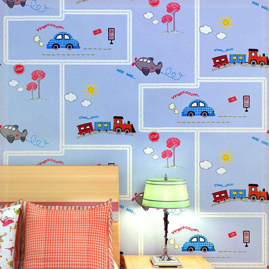 Cartoon Train Car Wallpaper Children Bedroom Wall Paper Boys Room Wall