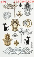 4 styles/lot Temporary Gold Silver For Women Tatoo Tattoos Golden Fake Stickers Tattoo Heartbeat Flash Tattos Taty Art Tattooin