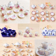 Free Shipping!Lot of  Tea Cup Set NEW Dining Dish Plate Kitchen Toy~ 1/12 Scale Dollhouse Miniature Furniture For Doll China Toy(China (Mainland))