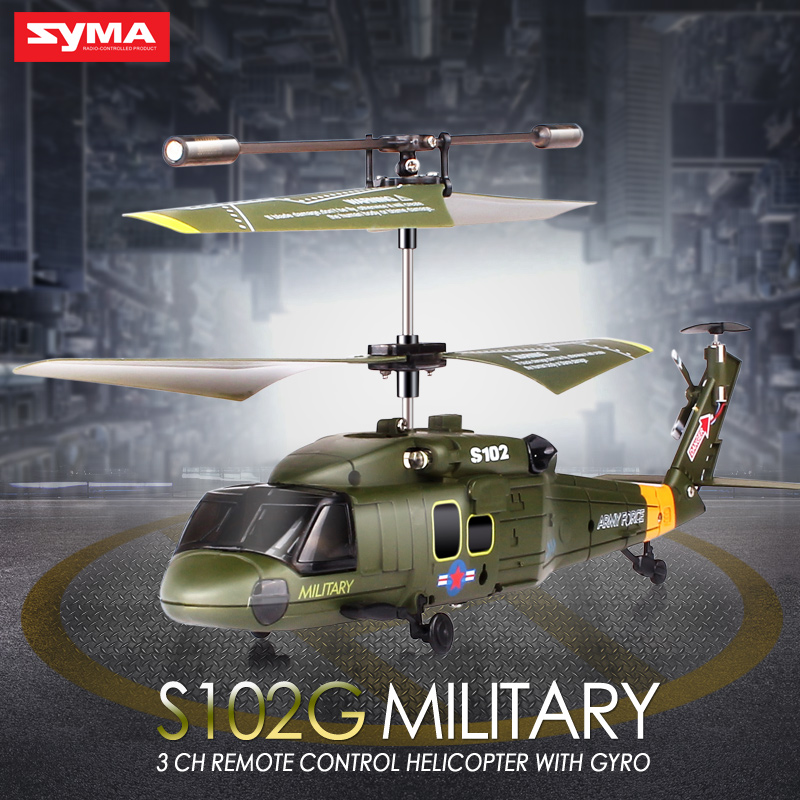 Syma S102G 3CH Aluminum Anti-Shock GYRO Remote Control RC Helicopter RTF Quadcopter LED Lights Remote Control Aircraft Toys