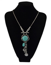 Fashion Colorful Rhinestone Necklaces Pendants Boho  Necklace 2016 Antique silver Plated Vintage Pendant Necklace(China (Mainland))