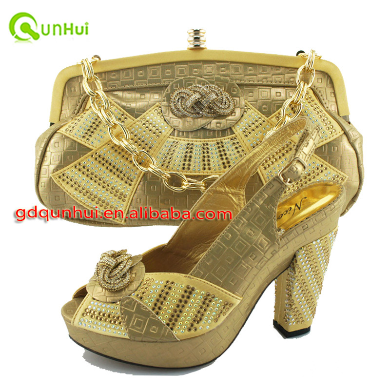 gold color wedding shoes New arrival high quality italian shoes and bags to match/matching italian shoe and bag set(China (Mainland))