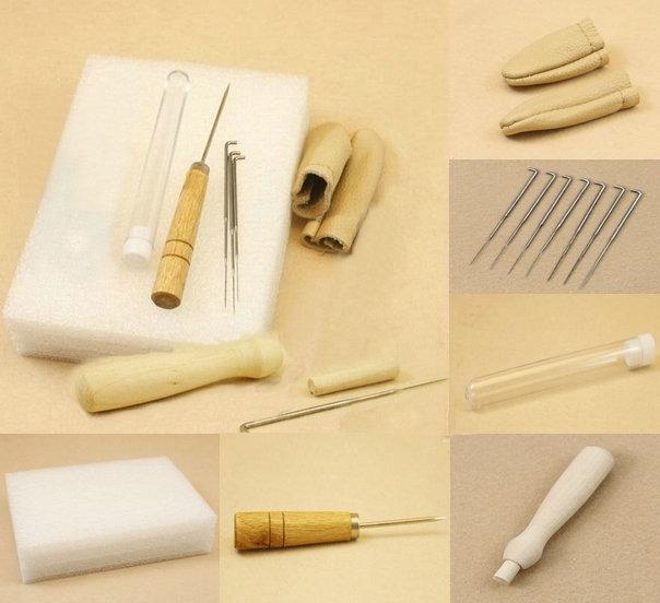 6pcs/1set fibre Needle Felting Starter Kit Wool Felt Tools Mat + Needle +Awl+ finger stall+Accessories Craft Free shipping!(China (Mainland))