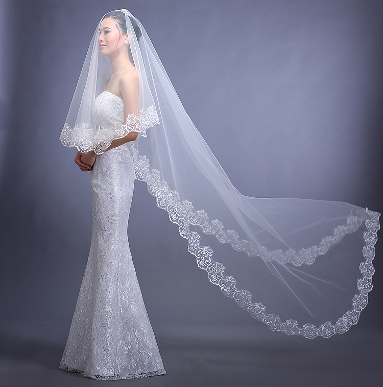 SUPER DEAL!!!ONLY 50 PICS In Stock Ivory and White Lace Cathedral Wedding Veil Long 3 Meters Bridal Veils Wedding Accessories(China (Mainland))