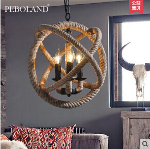Loft Style Nordic Retro Hanglamp Creative Pastoral Clothing Store Coffee Hall Rope Chandelier Vintage Industrial Lighting(China (Mainland))