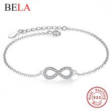 Authentic New Brand Women Infinity Bracelet 925 Sterling Silver CZ Diamond Charm Bracelet For Women Wedding Jewelry Gift YS1001(China (Mainland))