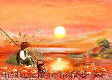 """""""Fishing"""" The ABSTRACT ART OIL PAINTING Chinese painters imitate (No Frame)"""