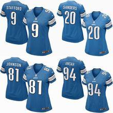 2016 Women Detroit Lions, 81# Johnson,20 Barry Sanders, 9 Matthew Stafford, 94# Ezekiel Ansah, blue 100% stitched logo(China (Mainland))