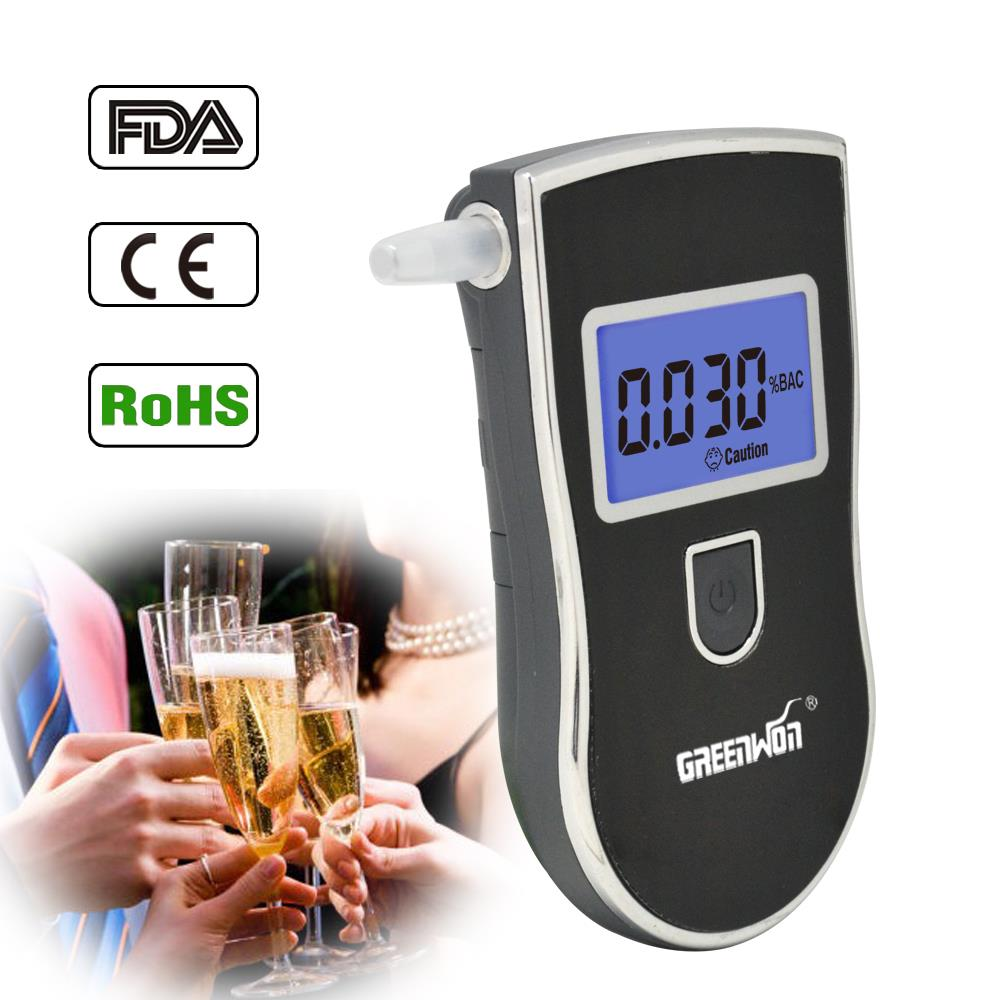 2015 NEW Hot selling Professional Police Digital Breath Alcohol Tester Breathalyzer AT818 Free shipping 10pcs mouthpieces