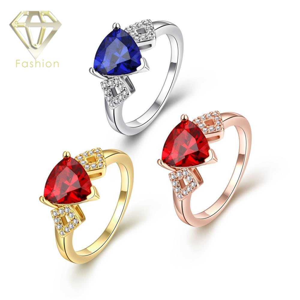 Buy Engagement Ring Online Romantic 18K/Rose/White Gold Plated with Red/Blue Crystal and Cubic Zircon Rings Fashion Jewellery(China (Mainland))