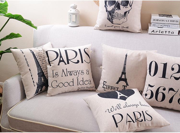 Free shipping Paris Nordic style Cushion Pillow minimalist comfortable Cushions Home Decor creative stylish Seat Cushion